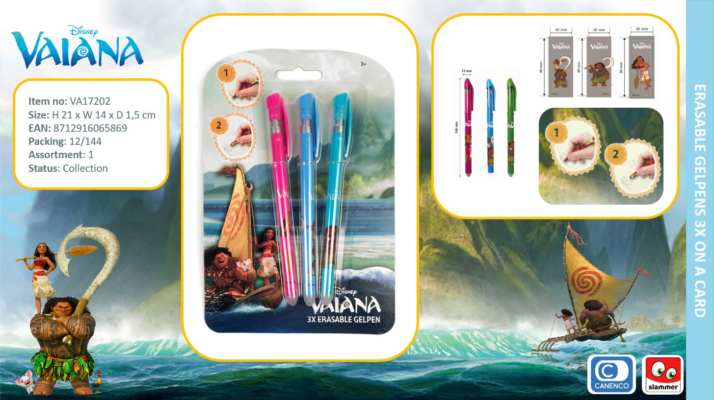 Disney Vaiana Erasable Gelpens