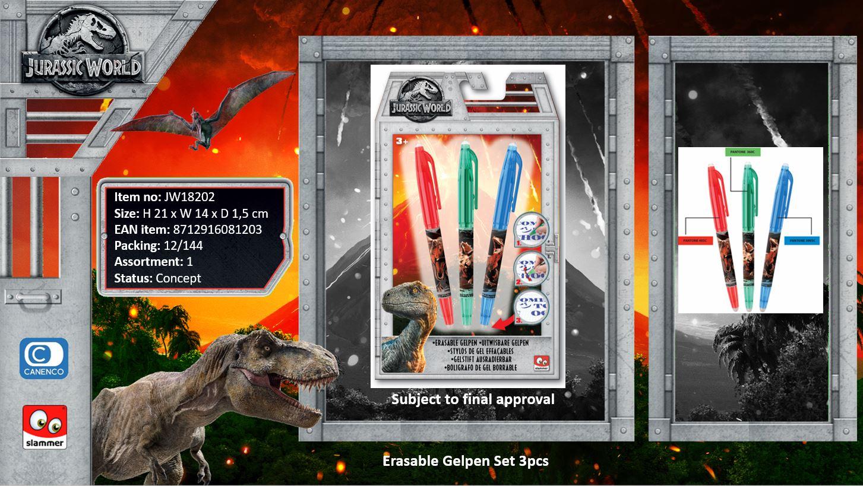 Jurassic World Erasable Gelpen Set 3pcs