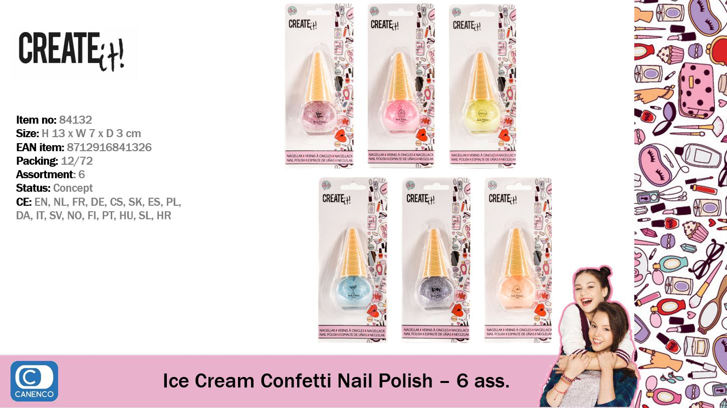 Create It! Ice Cream Confetti Nail Polish 6-assorted